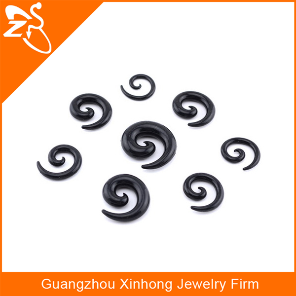 body jewelry earring,black silicone ear spiral ,body piercing jewelry silicone