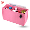 Embedded felt makeup bag cosmetic organizer with large bottle compartments