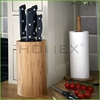 Bamboo knife holder round knife block Homex-BSCI Factory