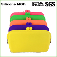 Resuable fashion colorful silicone rubber wallet bag