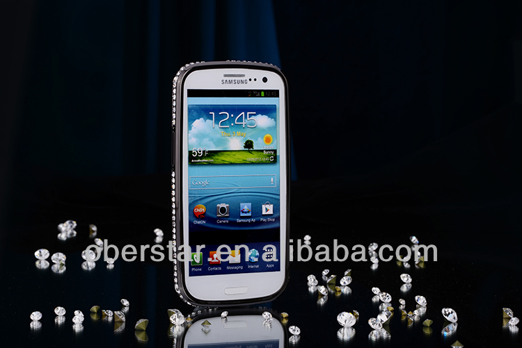 Factory Price Luxury Metal Aluminum Diamond Bling Bumper Case For Samsung Galaxy S3 i9300