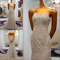 RP67845 cheap ready to ship prom dress gray bead stones mermaid elegant lace evening dresses long grey strapless evening dress