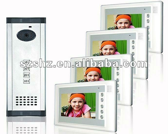 "7"" handsfree video intercom systems for 4 apartments with night vision"