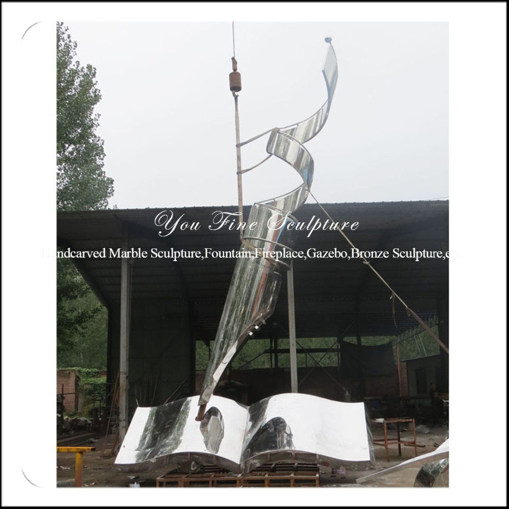 High Polished 304# Stainless Steel Metal Book and Pen Sculpture