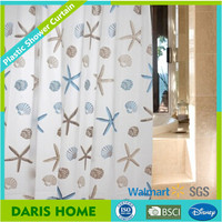 Starfish And Seashells Ocean Patterns Plastic Peva Shower Curtain