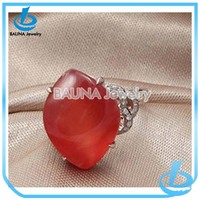Wholesale fashion funny engagement alloy rings big ruby red stone finger ring