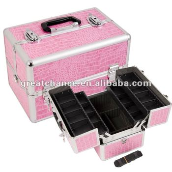 High Quality Aluminum Finish large Cosmetic Case / Makeup Box(XY-281)
