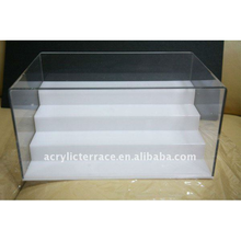 4 Steps White Display Stand With Clear Case