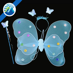 Hot Sale Masquerade Cheap Double Layer Fairy Butterfly Wings Halloween Costume Butterfly Wings