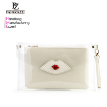 7081- Fashion Lady Clear PVC Silicone Clutch Bag Handbag Set, Sex Lip Pattern Girl's Cosmetic Bags