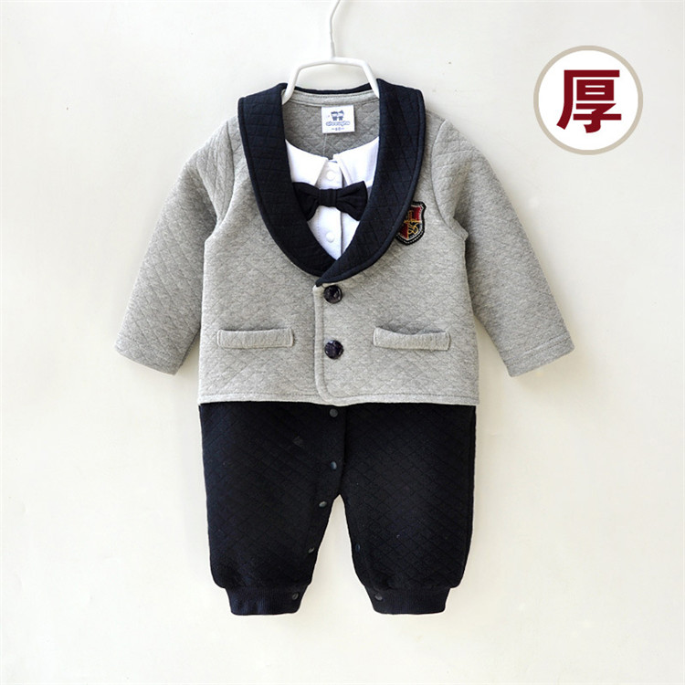 S016234 2016 new Baby Romper baby boy's gentleman modelling romper infant long sleeve climb clothes kids outwear