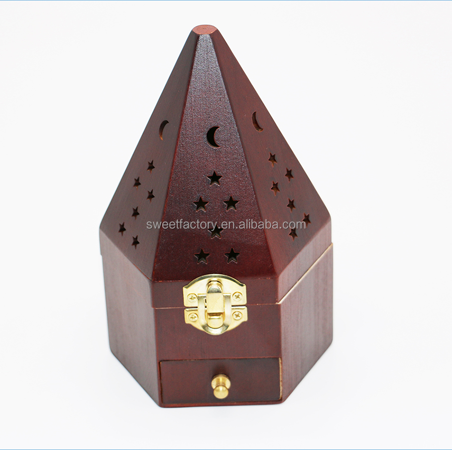 Hot sale Wood pyramid incense burner