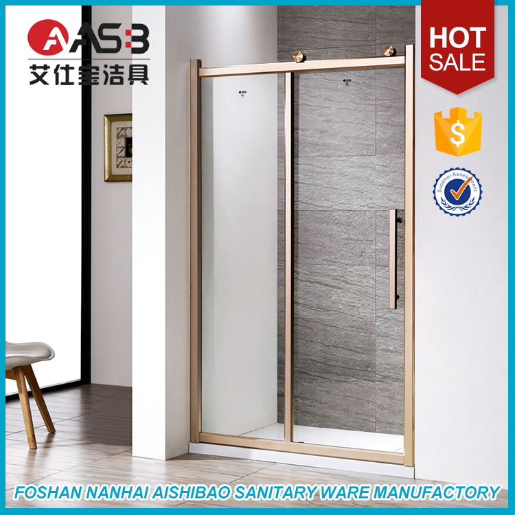 Bathroom Sets Gold Color Aluminum Frame Portable Shower Sliding Door Screen