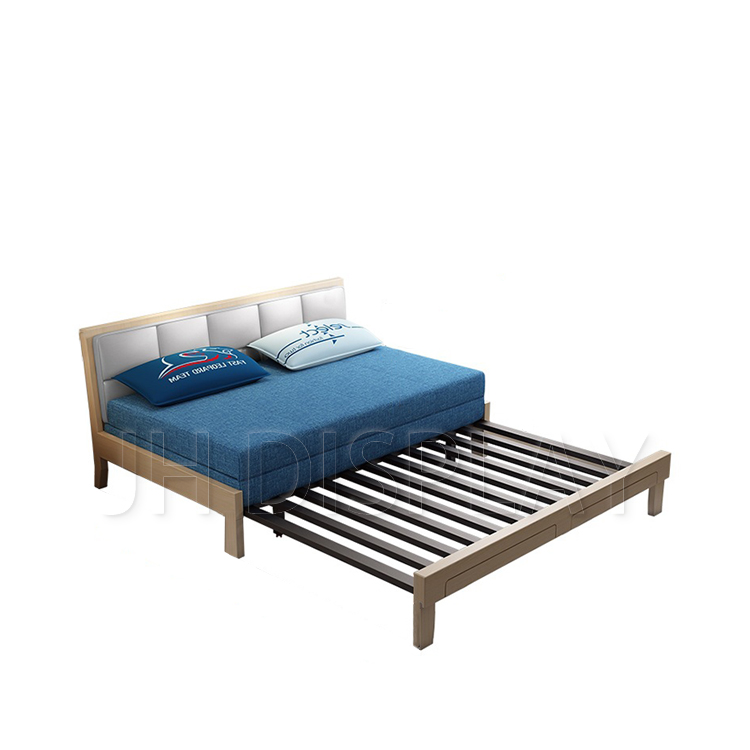 Metal Bed Skeleton Extensible Teak Double Two Seater Wooden Sofa Bed