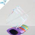 Custom New Design Blank Glass Award Trophy with Colorful Metal Base