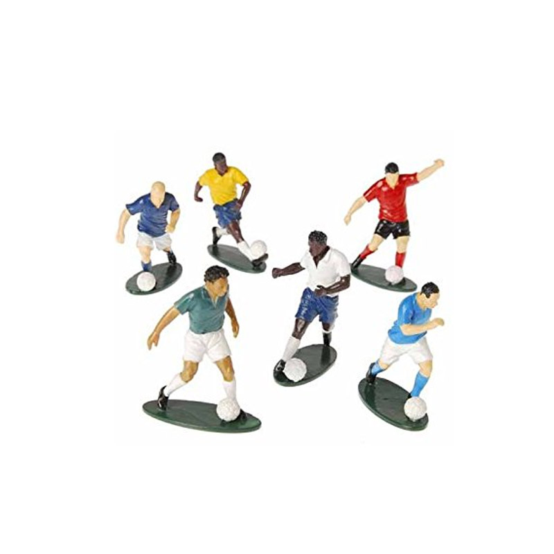plastic soccer figures, miniature soccer player, miniature footballers