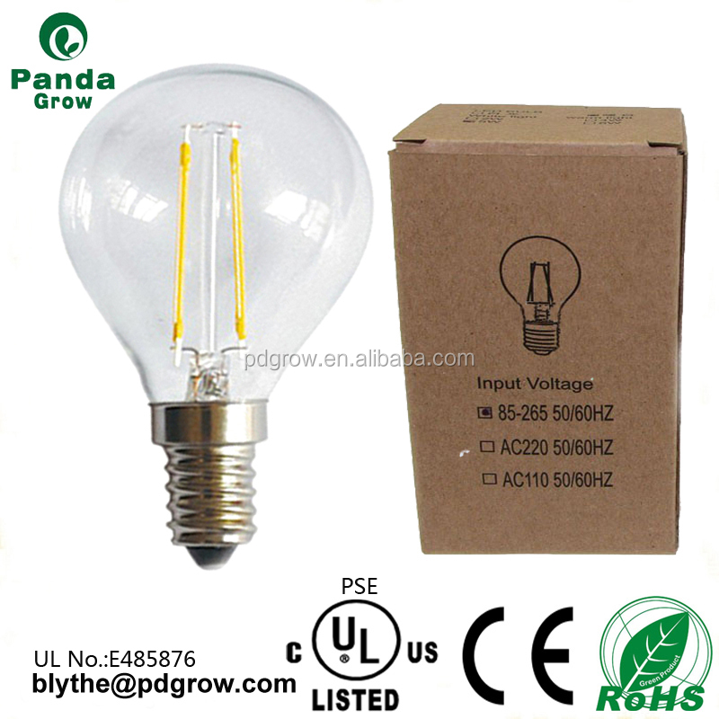 High quality color led lamp G45 2W red/green/yellow dimmable led filament bulbs ul