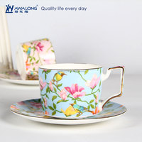 bird and flowers pattern straight shape coffee cup and saucer bone china