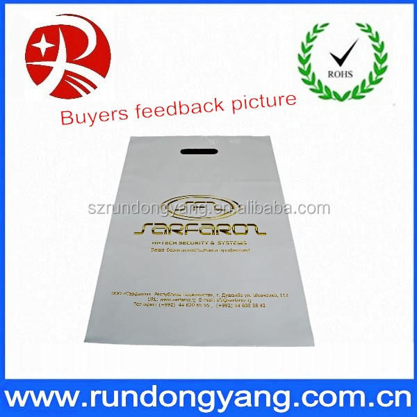 HDPE,PE Material And Die Cut Handle Style HDPE Plastic Shopping Bags For Store