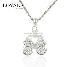 Hollowen Pumpkin Car Sterling Silver Charms Pendant Necklace FP374