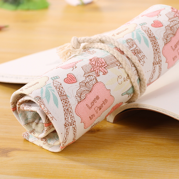 Hot Sale 36 Holes Romantic Love in Paris Rolling Pencil Case China School Stationery