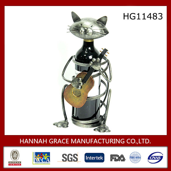 New Wonderland Design Metal Cat Wine Holder