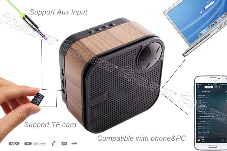 M1 Ultra-Portable Wireless Wood Bluetooth Speaker Built-in Microphone And AUX Jack Works For Cell Phones Pad And PC