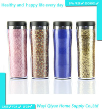450ml plastic cup with Glitter Paper Insert 16oz Double Wall Plastic plastic coffee mug with lid