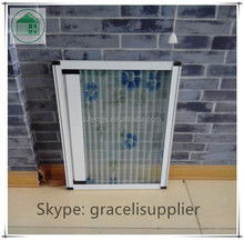 Aluminum alloy frame gray color mesh Polyester Pleated Insect Screen Door for inside or outside