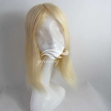 high quality blonde human hair toupee woman