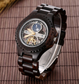 Hot Sale Skeleton Watch Mens Luxury Wooden Watch With Customized Logo