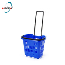 plastic shopping basket with wheels Rolling Basket With Wheels Collapsible Shopping Basket