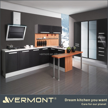 Cheap Good Quality Simple Fresh Clean PVC Laminated Kitchen Cabinet