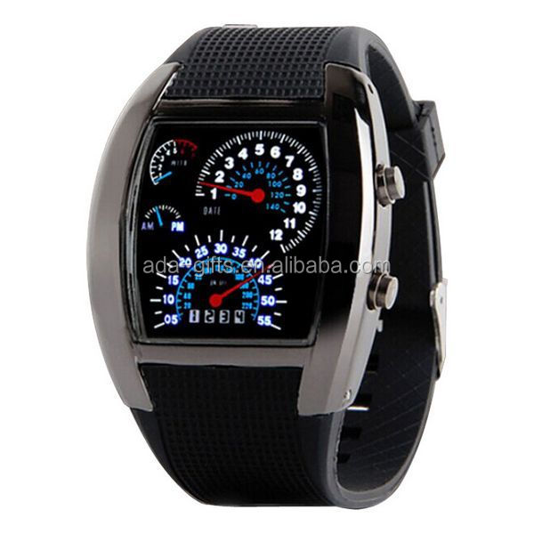 Sports led speedometer watch silicone led air watch men car led watch