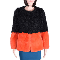 Bright coloruful sheep lamb fur jacket/rex rabbit fur coat real fur winter coat KZ150155