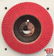 "Ceramic polishing flap wheel 115x22 abrasive paper 4 1/2"" with metal polishing wheel EN 12413"