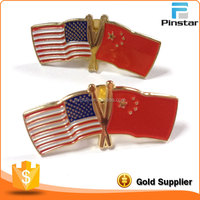 Wholesale High Quality American And Chinese Cross Flag Pin Lapel