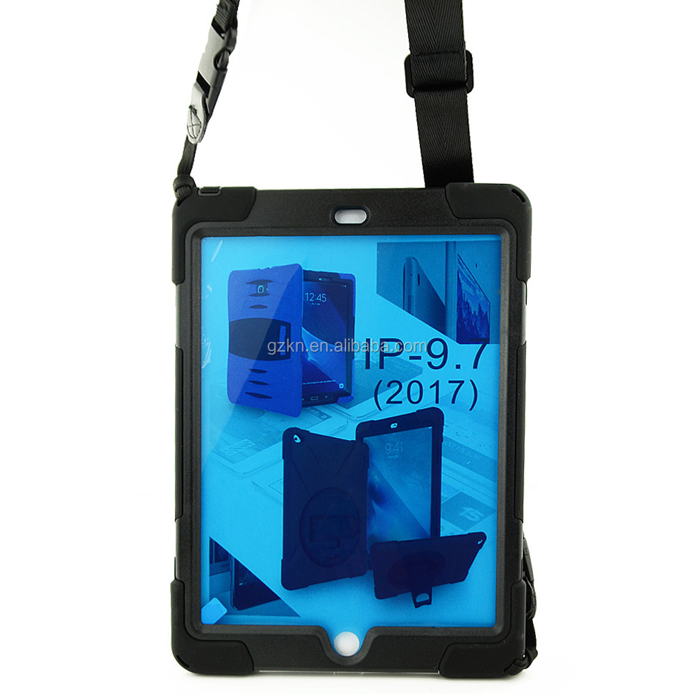 Hard pc and silicone hybrid case for iPad 2017 with hands and shoulder strap