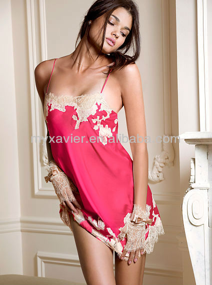 Lace Applique Satin Sexy Nighty Design