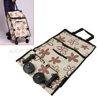 Promotion polyester folding trolley shopping bag with wheel