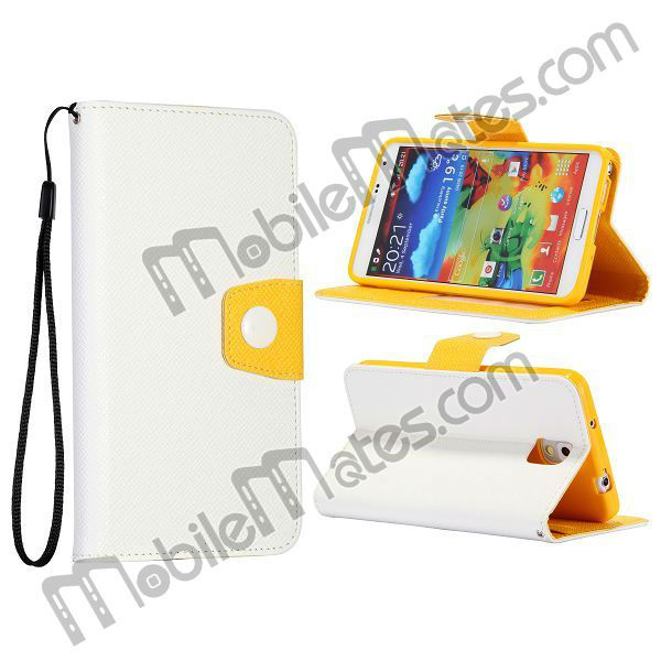 Newest Magnetic Flip Stand Leather Wallet Case for Samsung Galaxy Note 3 N9000 N9002 N9005 with Card Slots & Strape