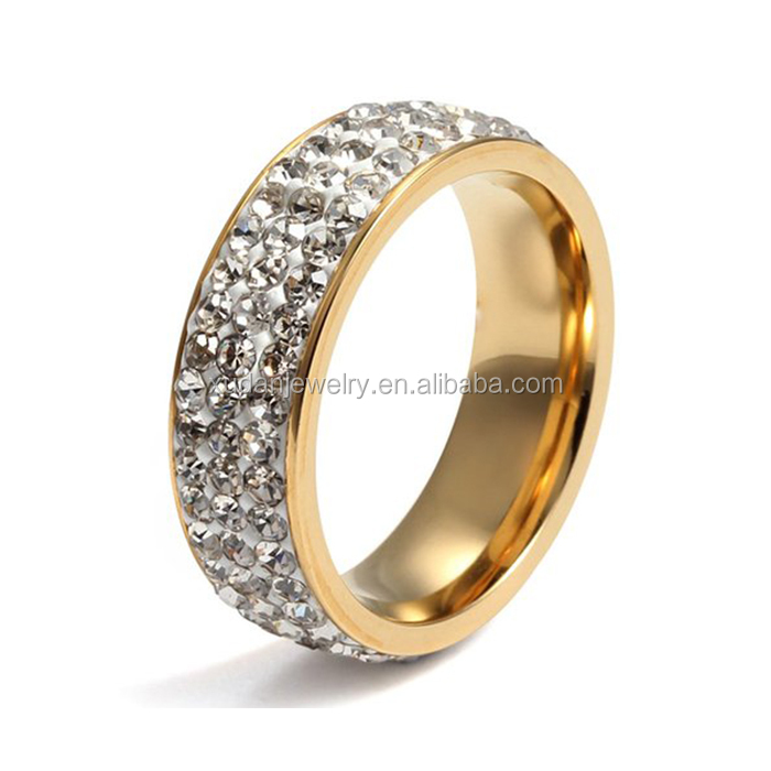 Simple Women Stainless Steel Eternity Ring Designs CZ Cubic Zirconia Crystal Circle Round,Gold,7mm Width