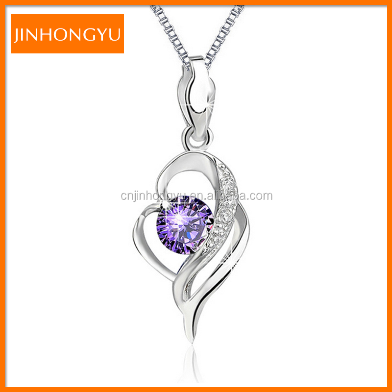 S925 Sterling <strong>Silver</strong> Blink Cubic Zircon Purple Crystal Pendant for Necklace