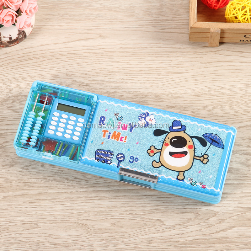 factory directly sale cute lovely plastic pvc multipurpose magnetic stationery pencil boxes with calculator and arithmetic tools