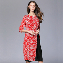 2017 elegant women chiffon pleated dresses red S-XXL three quarters sleeves spring summer women dress with slit plus size