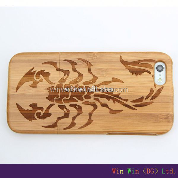 Scorpion engraving maple/cherry wood phone case for iphone 5