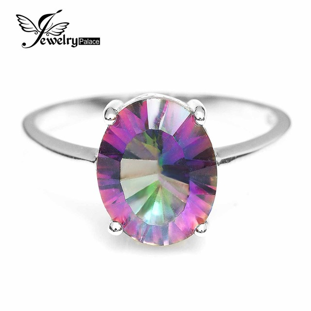 JewelryPalace 3.6ct Rainbow Fire Mystic Topaz Oval Ring Genuine 925 Sterling Silver Rings For Women Simple Fashion Fine Jewelry