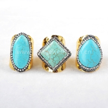 Exclusive Rhinestone paved ring, Howlite turquoise cuff ring