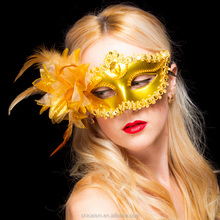 Venice Dance Mask with Feather Lace Flower for Party Wedding Masquerade Halloween Christmas Performance Dance Decoration