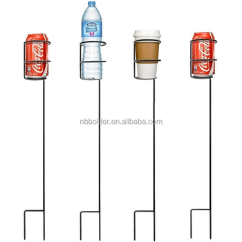 Wholesale outdoor garden metal wire bottle holder garden stake for promotional